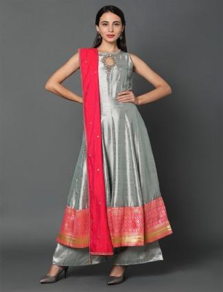 grey art silk festive wear punjabi salwar suit