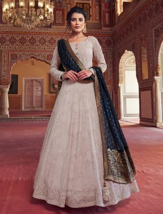 Grey attractive georgette floor length anarkali salwar suit