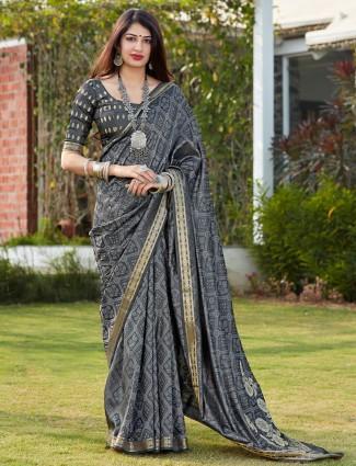 Grey banarasi silk festive wear saree for women