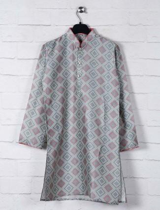 Grey bandhej print cotton kurta suit
