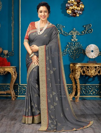 Grey chiffon saree for the festive wear