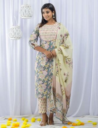 Grey color cotton punjabi style festive wear pant suit