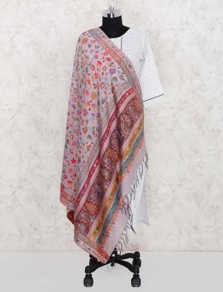 Grey color gorgeous pashmina silk dupatta