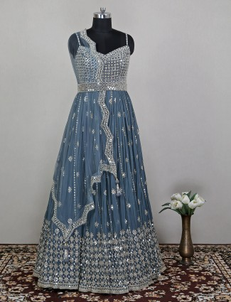 Grey colored charming anarkali suit in georgette