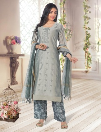 Grey cotton palazzo suit for festive occasions
