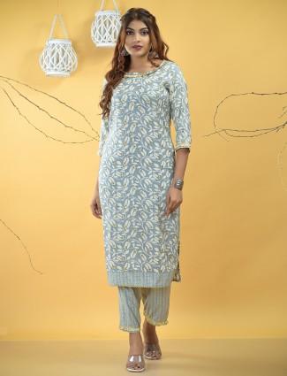 Grey cotton punjabi style festive occasions pant suit