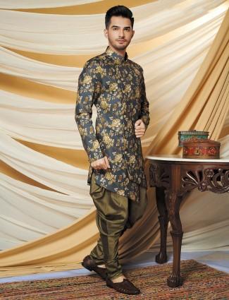 Grey cotton silk wedding wear indo western
