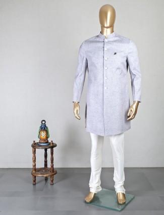 Grey cotton textured jodhpuri style indo western