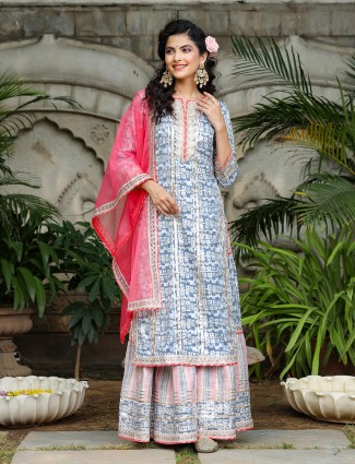 Grey designer cotton punjabi style printed festive functions sharara suit