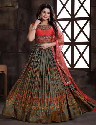 Grey floor length silk alluring anarkali dress for wedding sessions
