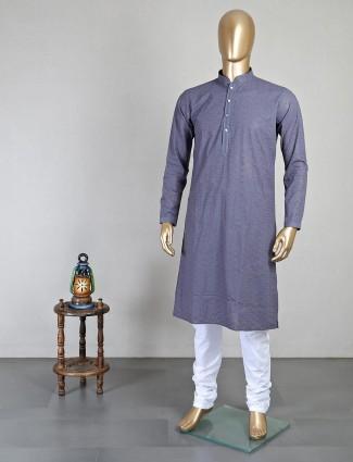 Grey full sleeves kurta suit for festive