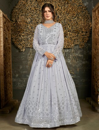 Grey georgette floor length gown for wedding sessions