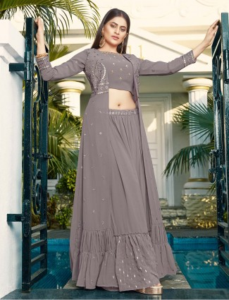 Grey georgette jacket style palazzo suit for wedding