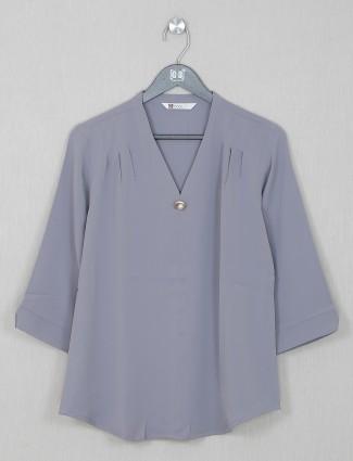 Grey georgette solid causal wear top