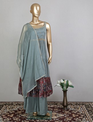 Grey gerogette palazzo suit for festive function