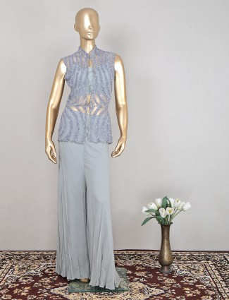 Grey gerogette palazzo suit for reception and wedding function