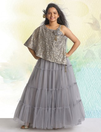 Grey gown for girl in net fabric