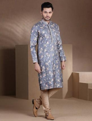 Grey heavy embroidered festive wear pure cotton silk kurta suit