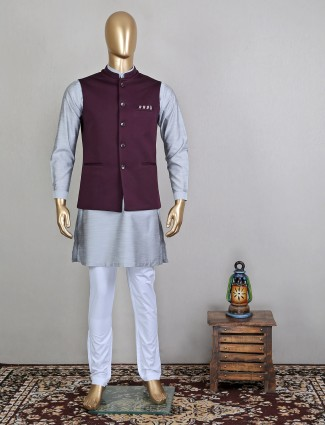 Grey hue solid terry rayon waistcoat set