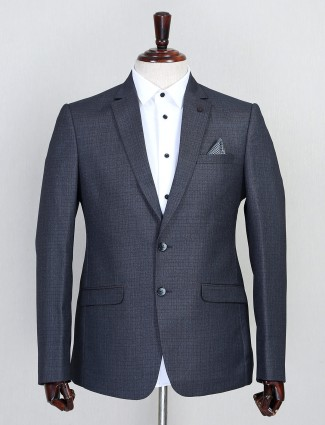 Grey hue terry rayon fabric solid coat suit