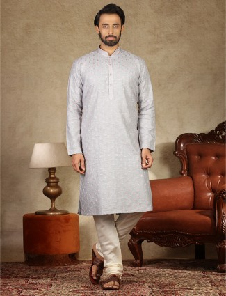 Grey linen kurta suit festive wear