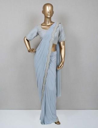 Grey lycra net ready to wear saree