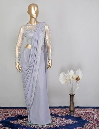 Grey net gorgeous wedding function ready to wear saree