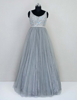 Grey net gown for wedding session