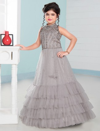 Grey net party wear gown for girls