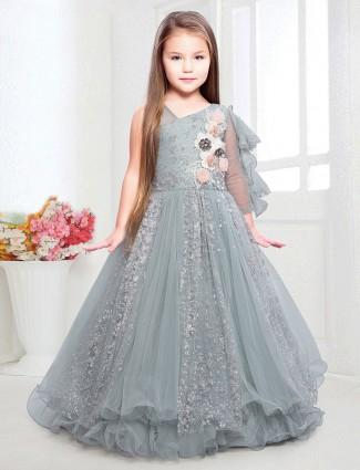 Grey net wedding wear gown