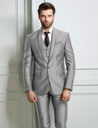 Grey party wear terry rayon fabric coat suit