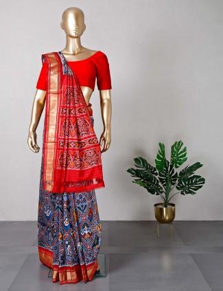 Grey patola silk saree for women