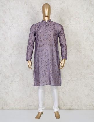 Grey printed cotton mens kurta suit