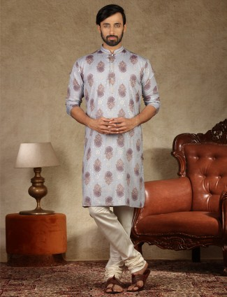 Grey printed full sleeves kurta suit for festive