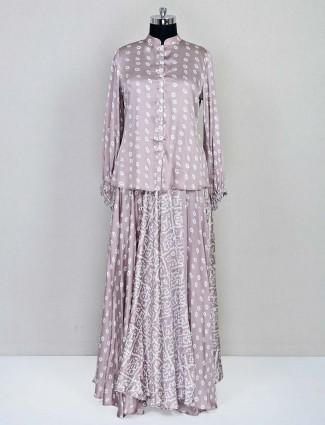 Grey printed satin indo western salwar suit