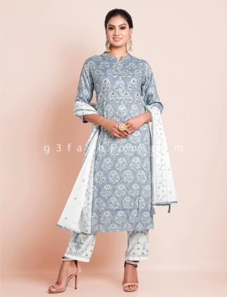 Grey punjabi style printed festive functions cotton pant suit