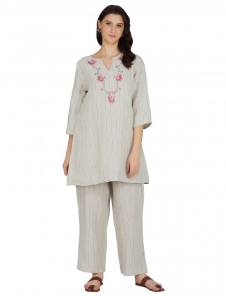 Grey punjabi style stripe cotton festive wear pant suit