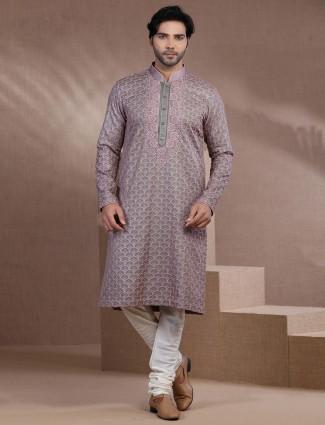 Grey pure cotton silk festive function kurta suit