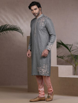 Grey pure raw silk kurta pajama for festive
