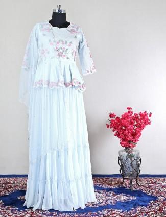 Grey raw silk lehenga style suit for wedding