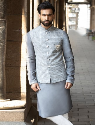 Grey raw silk party wear waistcoat set for men