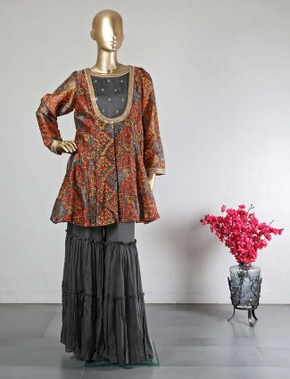 Grey raw silk sharara suit for part