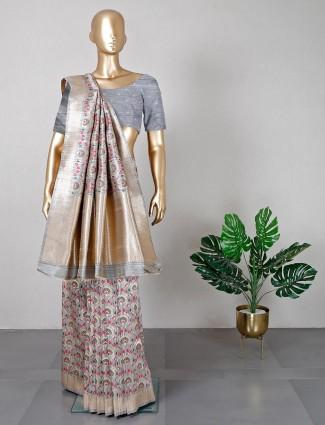 Grey semi silk saree for weddding