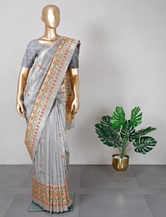 Grey semi silk saree for wedding