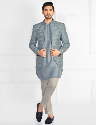 Grey shade wedding wear indowestern suit with jacket