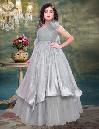Grey silk designer wedding gown