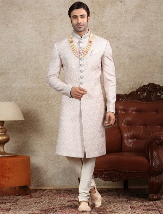 Grey silk fabric sherwani for wedding occasions