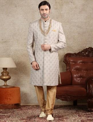 Grey silk fabric sherwani wedding special