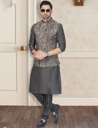 Grey silk mens waistcoat set