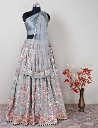 Grey silk pretty wedding wear lehenga choli